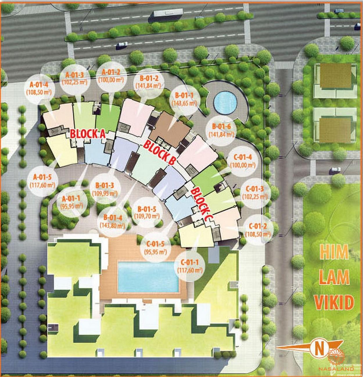 Mặt bằng tổng quan căn hộ Him Lam Riverside block A, B, C