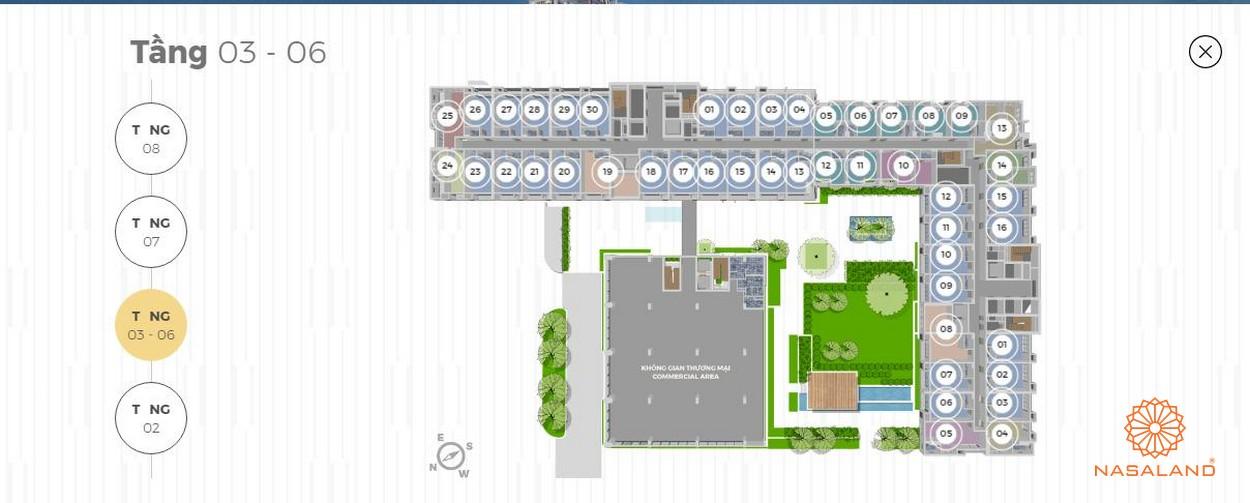 Mặt bằng tháp tiện ích 8 tầng Lancaster Lincoln - Tầng 3-6
