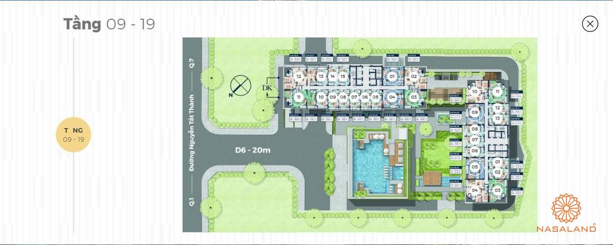 Mặt bằng tháp căn hộ 40 tầng Lancaster Lincoln - Tầng 9-19