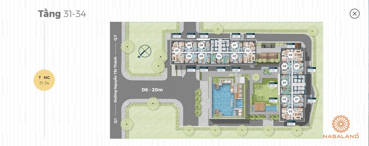 Mặt bằng tháp căn hộ 40 tầng Lancaster Lincoln - Tầng 31-34