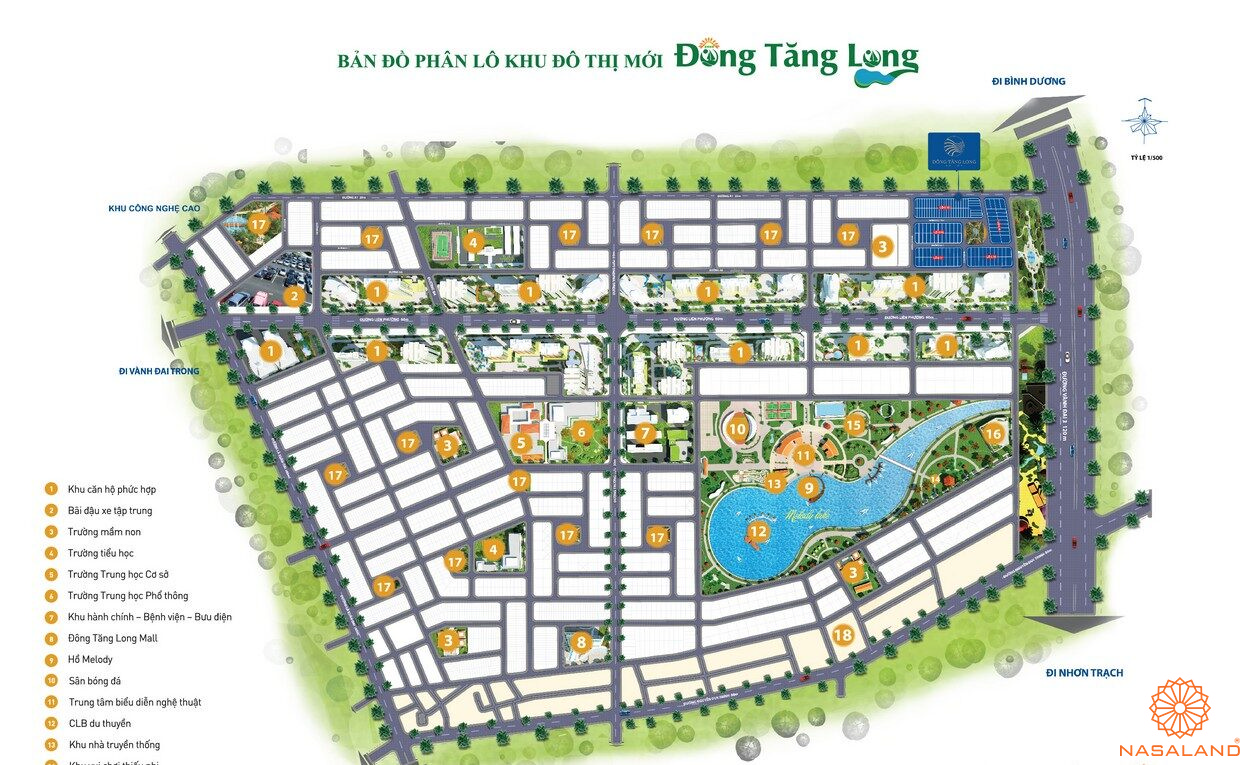 Mặt bằng tổng thể dự án nhà phố Đông Tăng Long An Lộc Quận 9