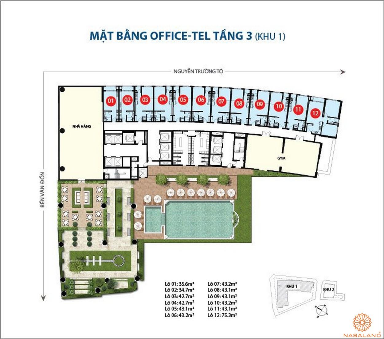 Mặt bằng dự án căn hộ Saigon Royal quận 4 chủ đầu tư Novaland