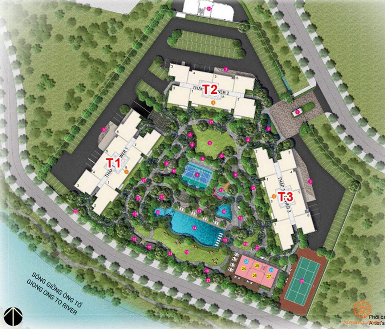 Mặt bằng dự án căn hộ chung cư Palm Springs Quận 2 Đường Song Hành chủ đầu tư Keppel Land