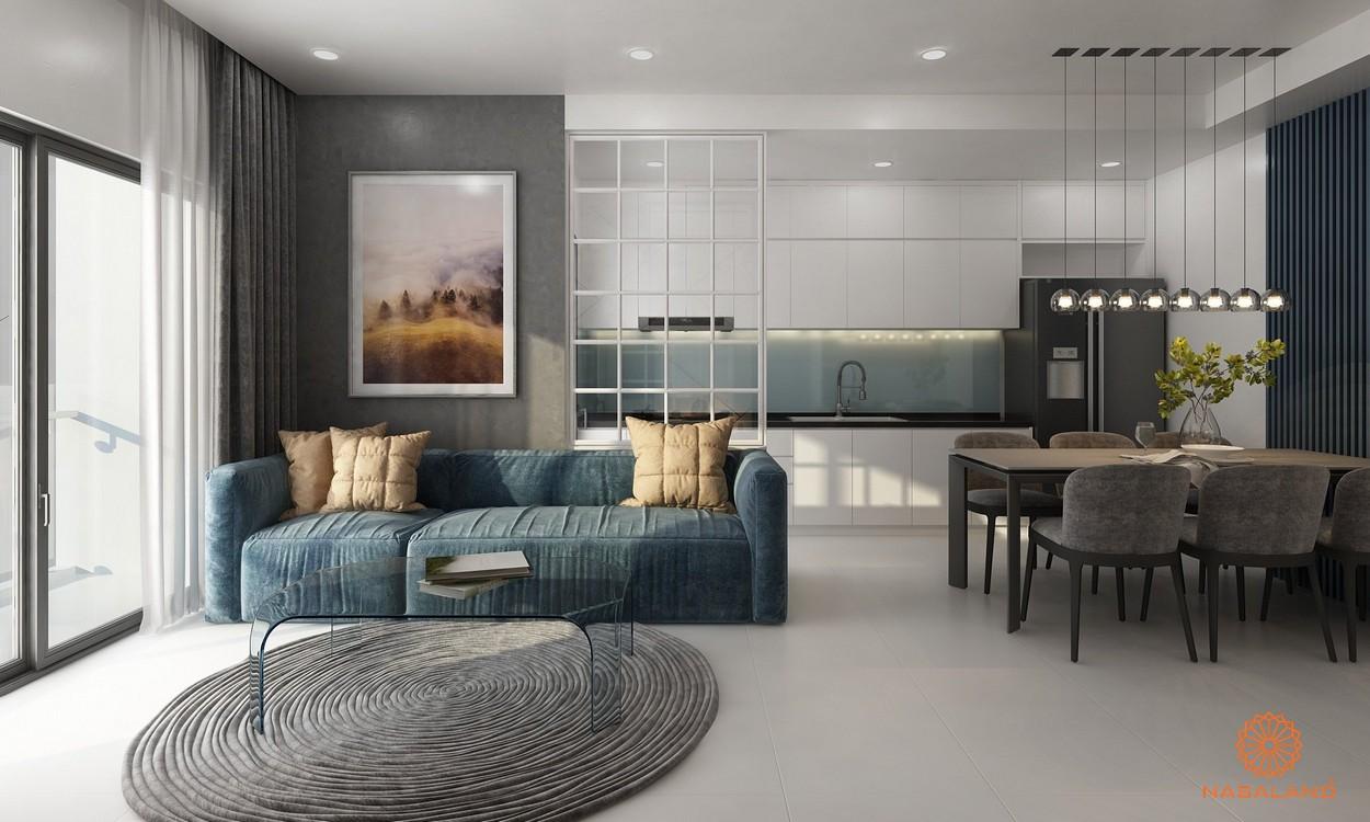 Nhà mẫu căn hộ Phú Đông Central Quận 1 - phòng khách và bàn ăn được đệm vải mềm êm