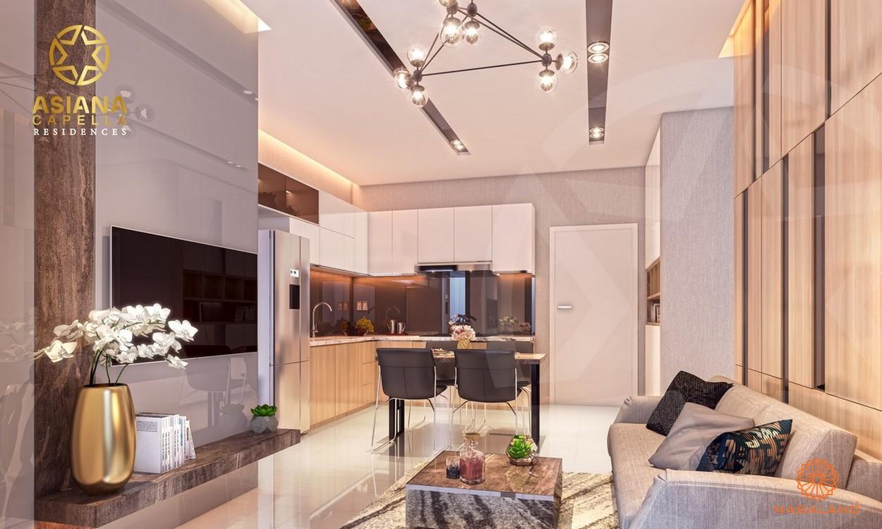 Nhà mẫu phòng khách và bàn ăn sang trọng với thiết kế hầu hết là gỗ