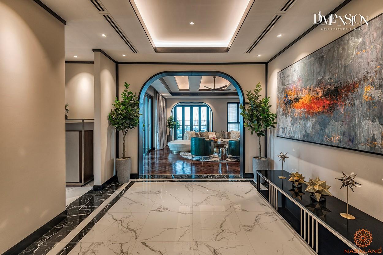 Nội thất đại sảnh phòng khách bàn giao căn hộ D1 Mension quận 1