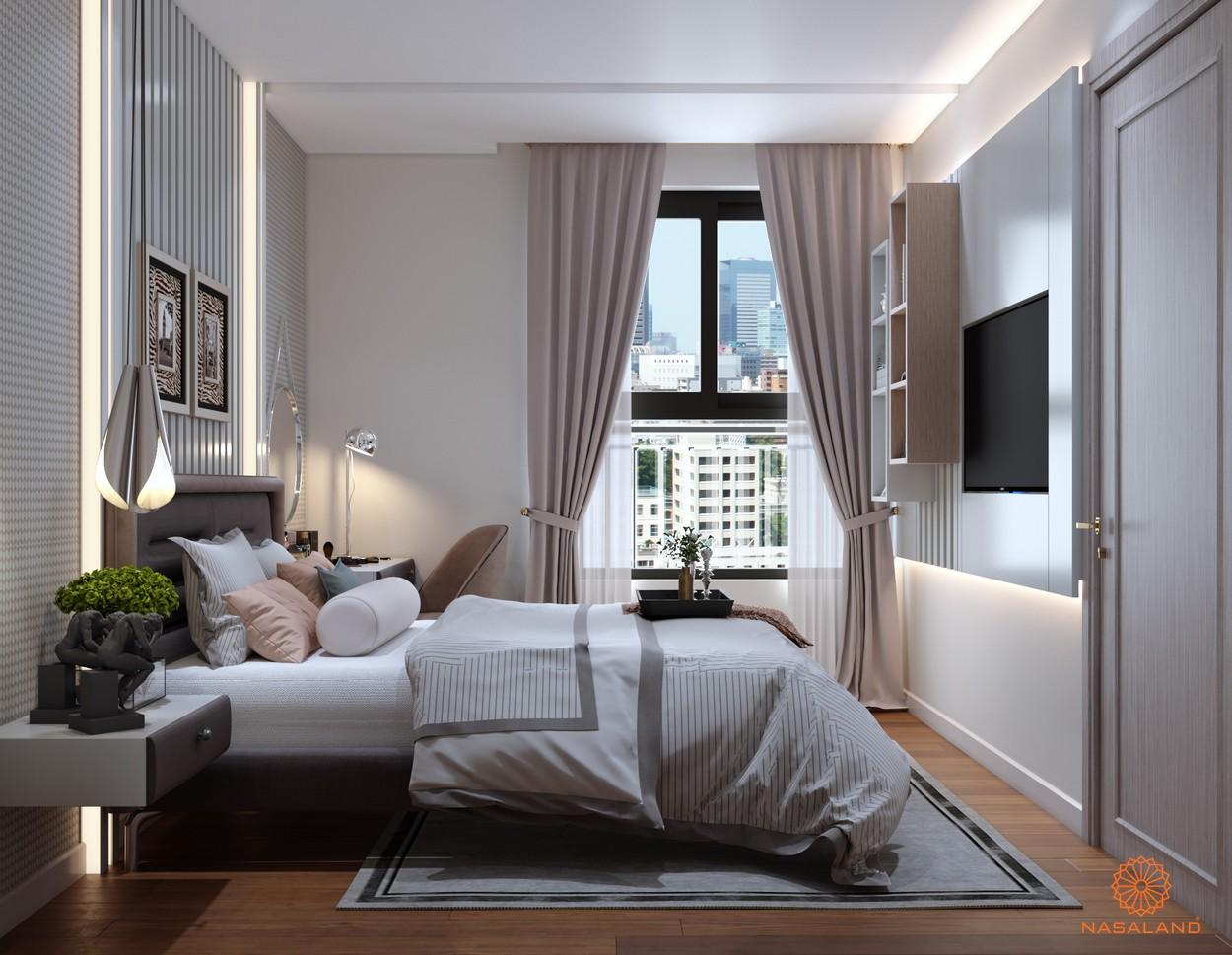Nội thất phòng ngủ Asiana quận 6 với những đường sọc là điểm nhấn tạo nét sang trọng cho căn phòng