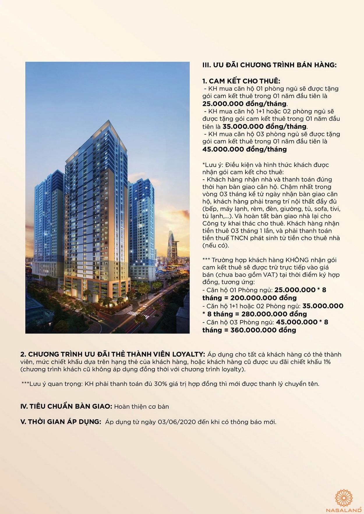Phương thức thanh toán dự án căn hộ Soho Residences quận 1 chủ đầu tư Novaland
