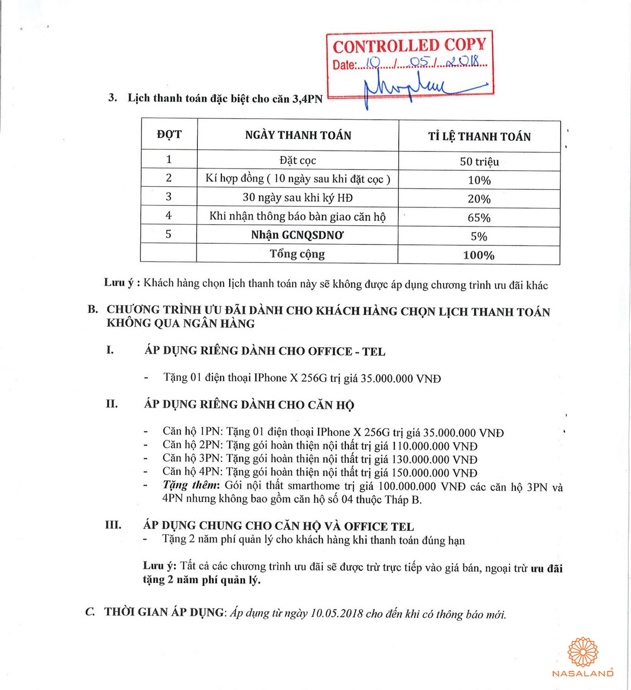 Phương thức thanh toán của dự án căn hộ