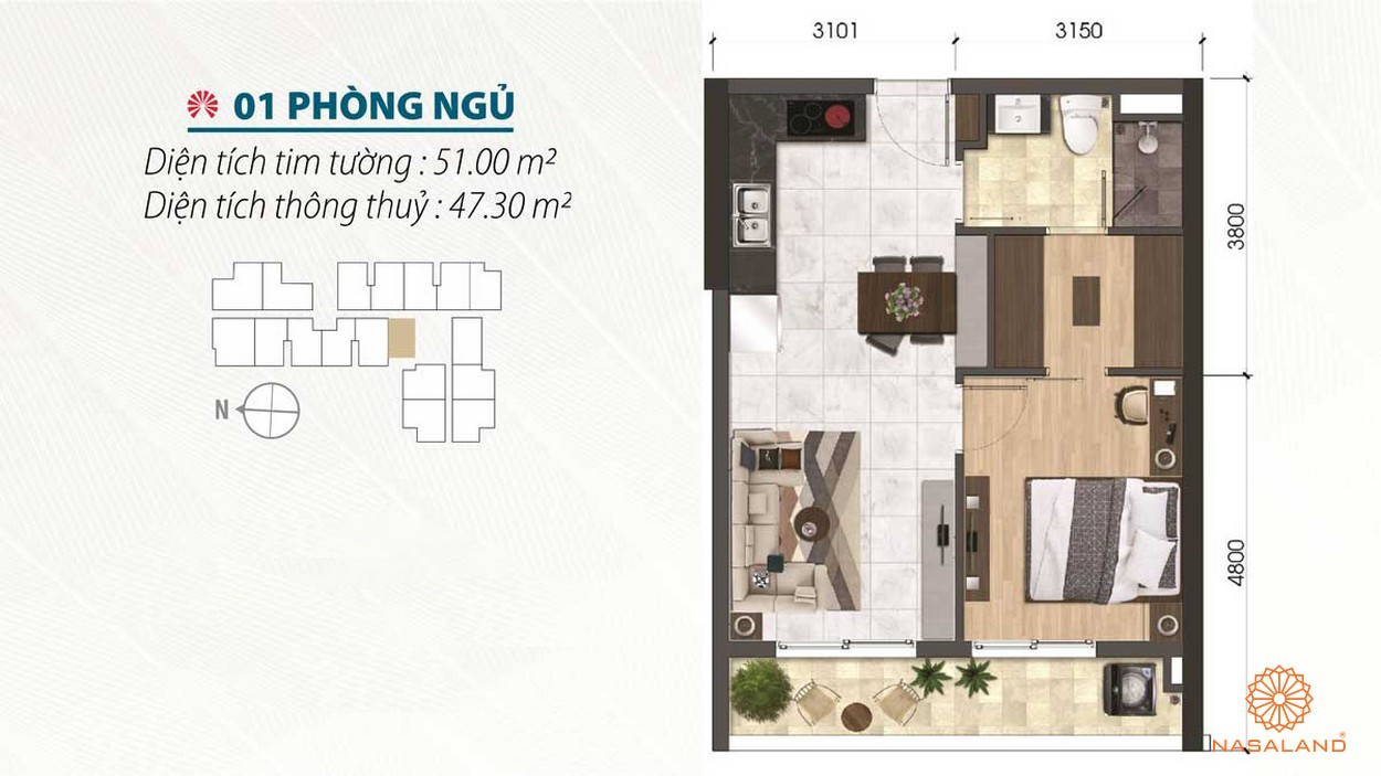 Thiết kế 1 phòng ngủ tiện nghi của Asiana quận 6