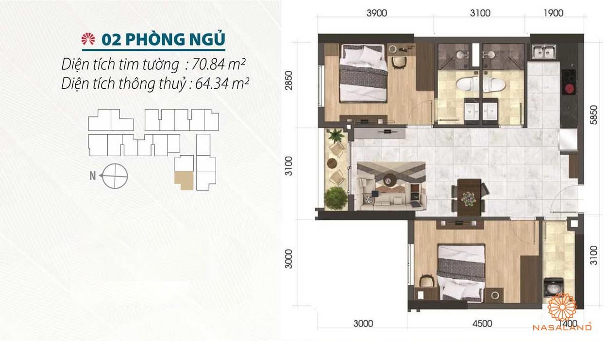 Thiết kế 2 phòng ngủ đầy đủ nội thất của dự án căn hộ Asiana