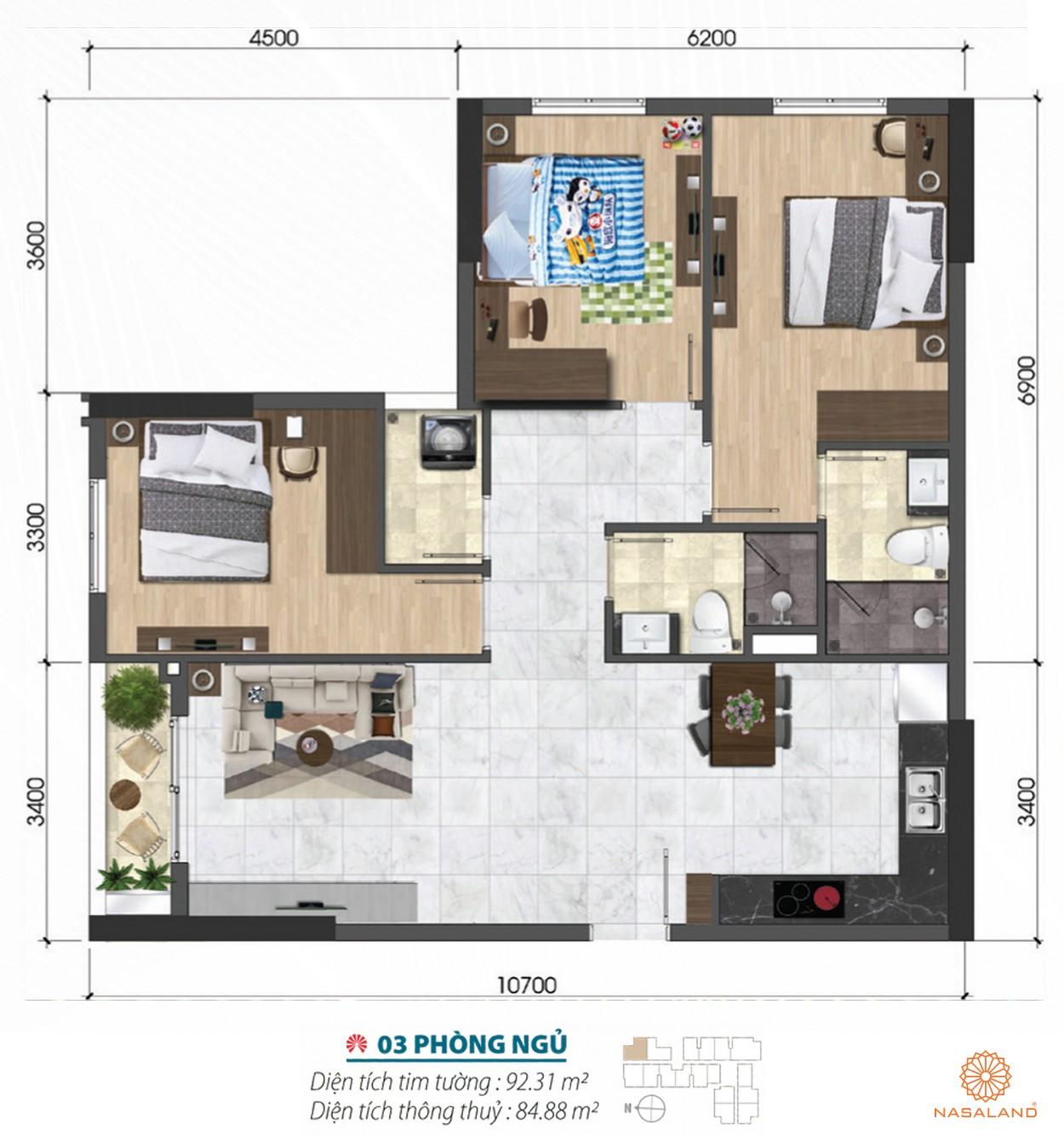Thiết kế 3 phòng ngủ rộng rãi của dự án căn hộ Asiana