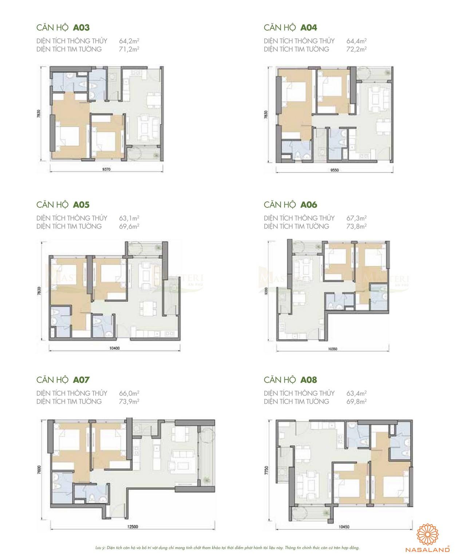 Thiết kế căn hộ A03 đến A08 của dự án chung cư Masteri quận 2