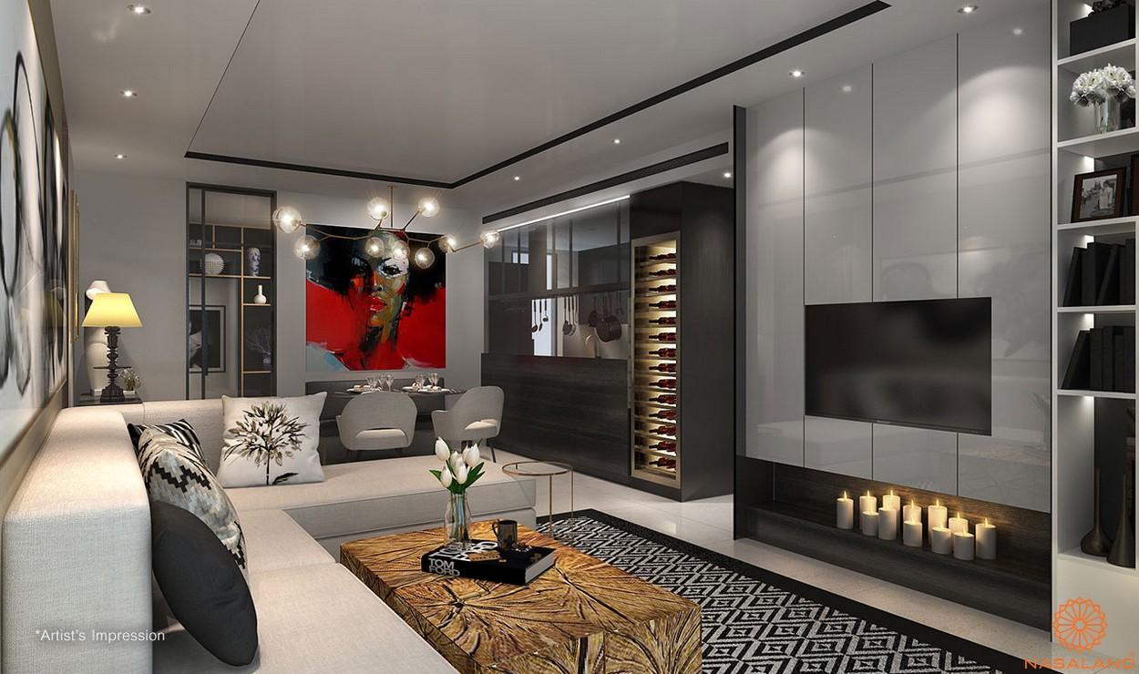 Thiết kế phòng khách bàn giao căn hộ D1 Mension quận 1