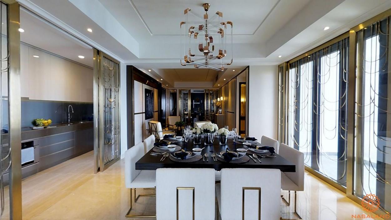 Thiết kế phòng ăn và phòng bếp bàn giao căn hộ D1 Mension quận 1