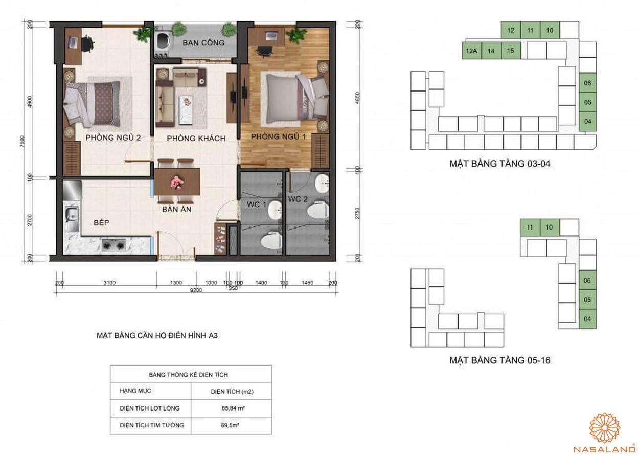 Thiết kế mặt bằng căn hộ A3 dự án Fresca Riverside Thủ Đức