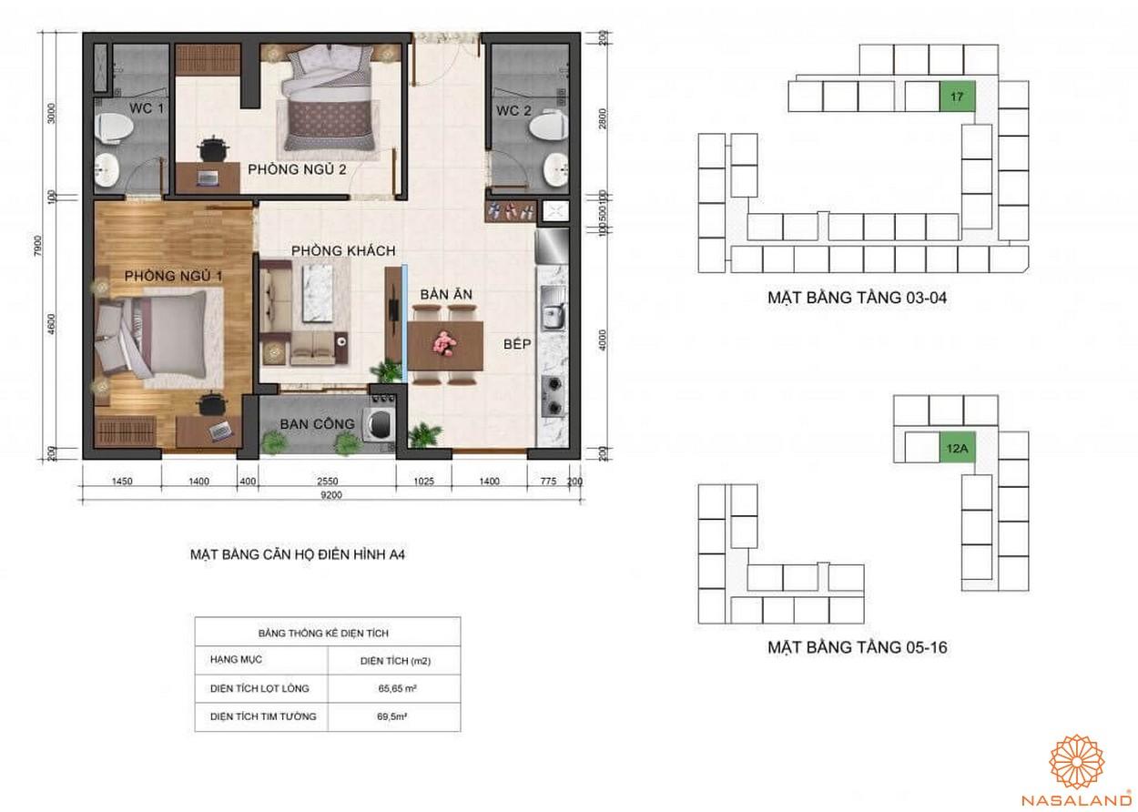 Thiết kế mặt bằng căn hộ chung cư A4 dự án Fresca Riverside Thủ Đức