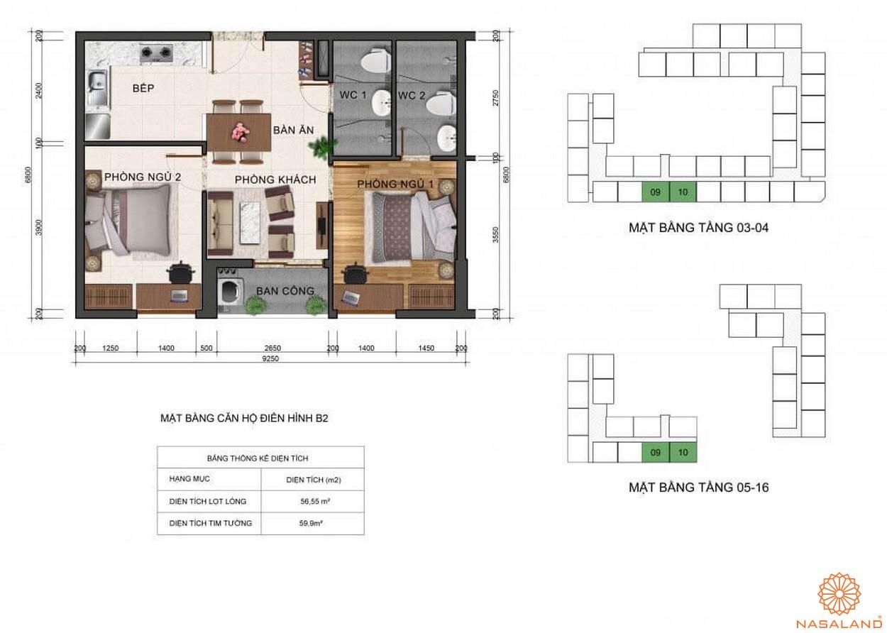 Thiết kế mặt bằng căn hộ B2 dự án Fresca Riverside Thủ Đức