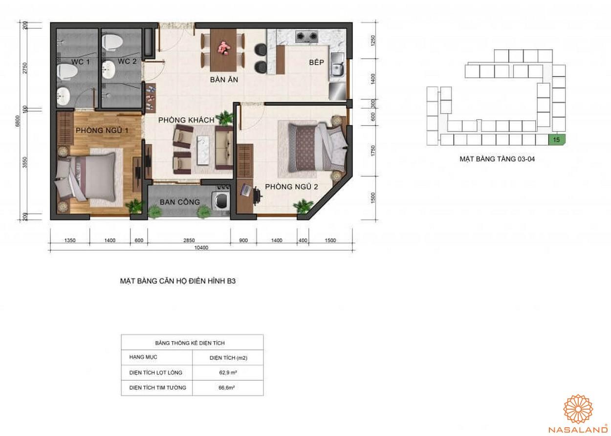 Thiết kế mặt bằng căn hộ B3 dự án Fresca Riverside Thủ Đức