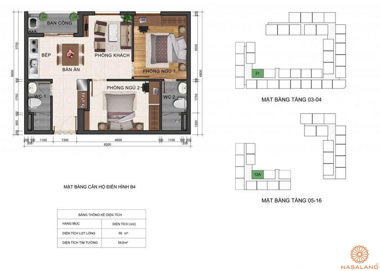 Thiết kế mặt bằng căn hộ B4 dự án Fresca Riverside Thủ Đức