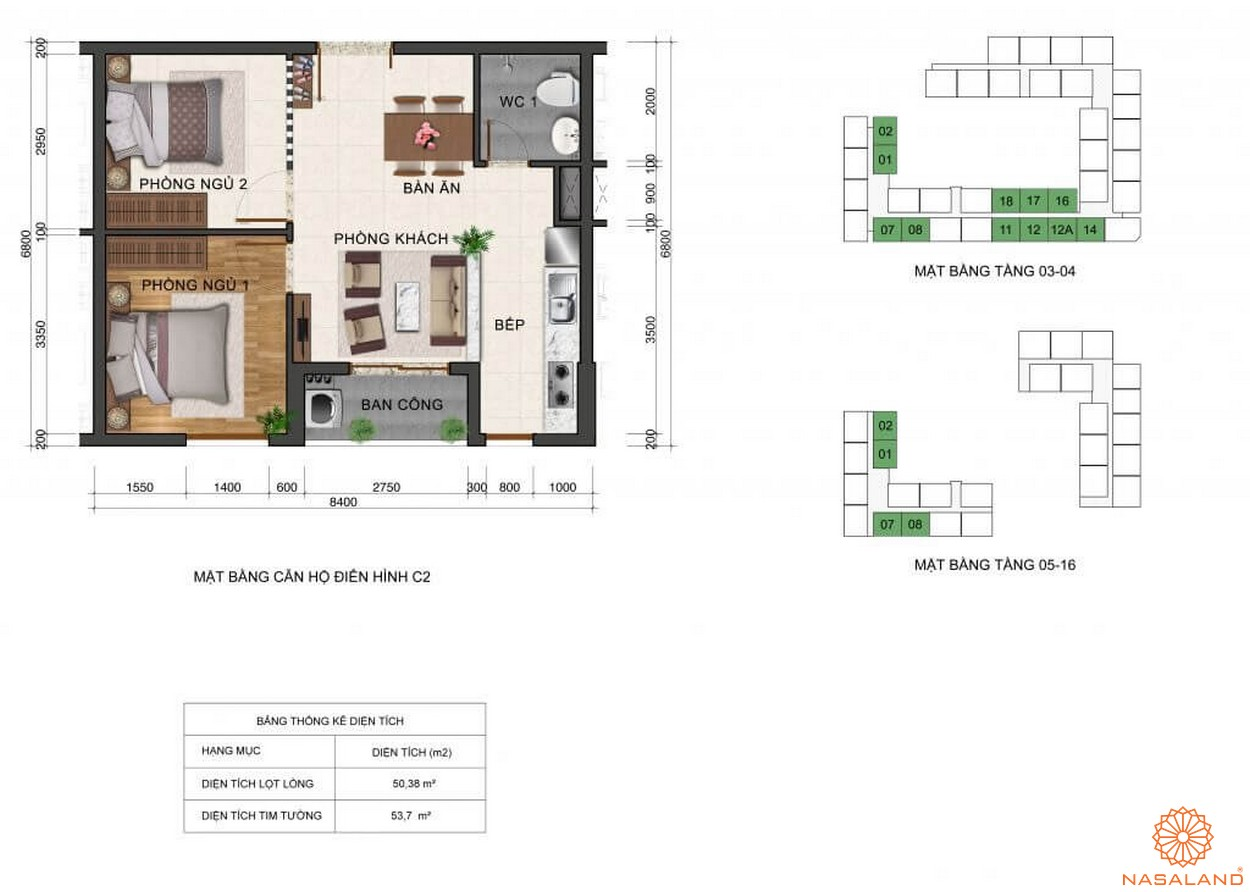 Thiết kế mặt bằng căn hộ C2 dự án Fresca Riverside tọa lạc tại quận Thủ Đức