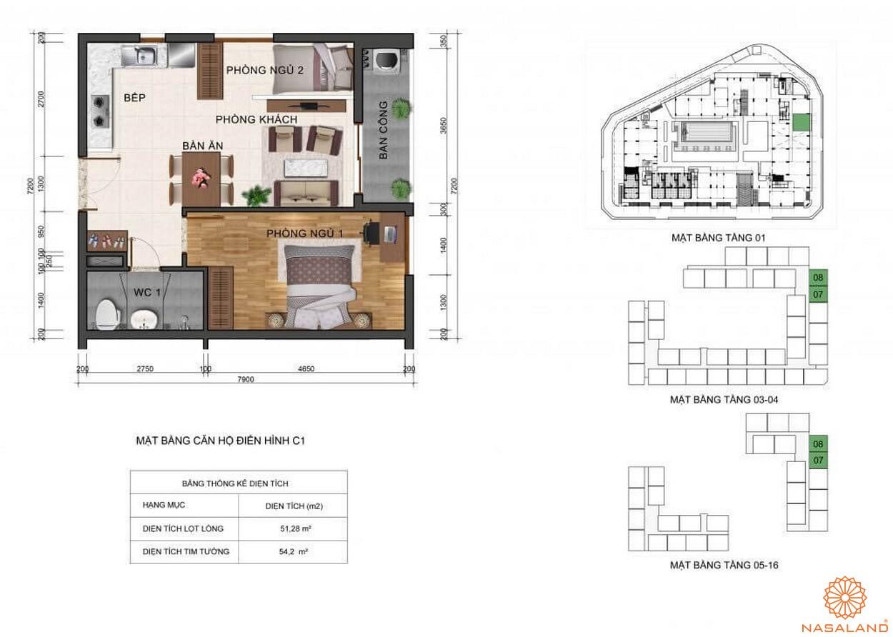 Thiết kế mặt bằng căn hộ C1 dự án Fresca Riverside Thủ Đức