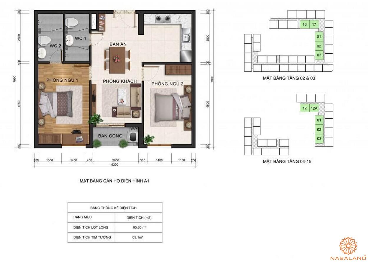 Thiết kế mặt bằng căn hộ A1 dự án Fresca Riverside tọa lạc tại quận Thủ Đức