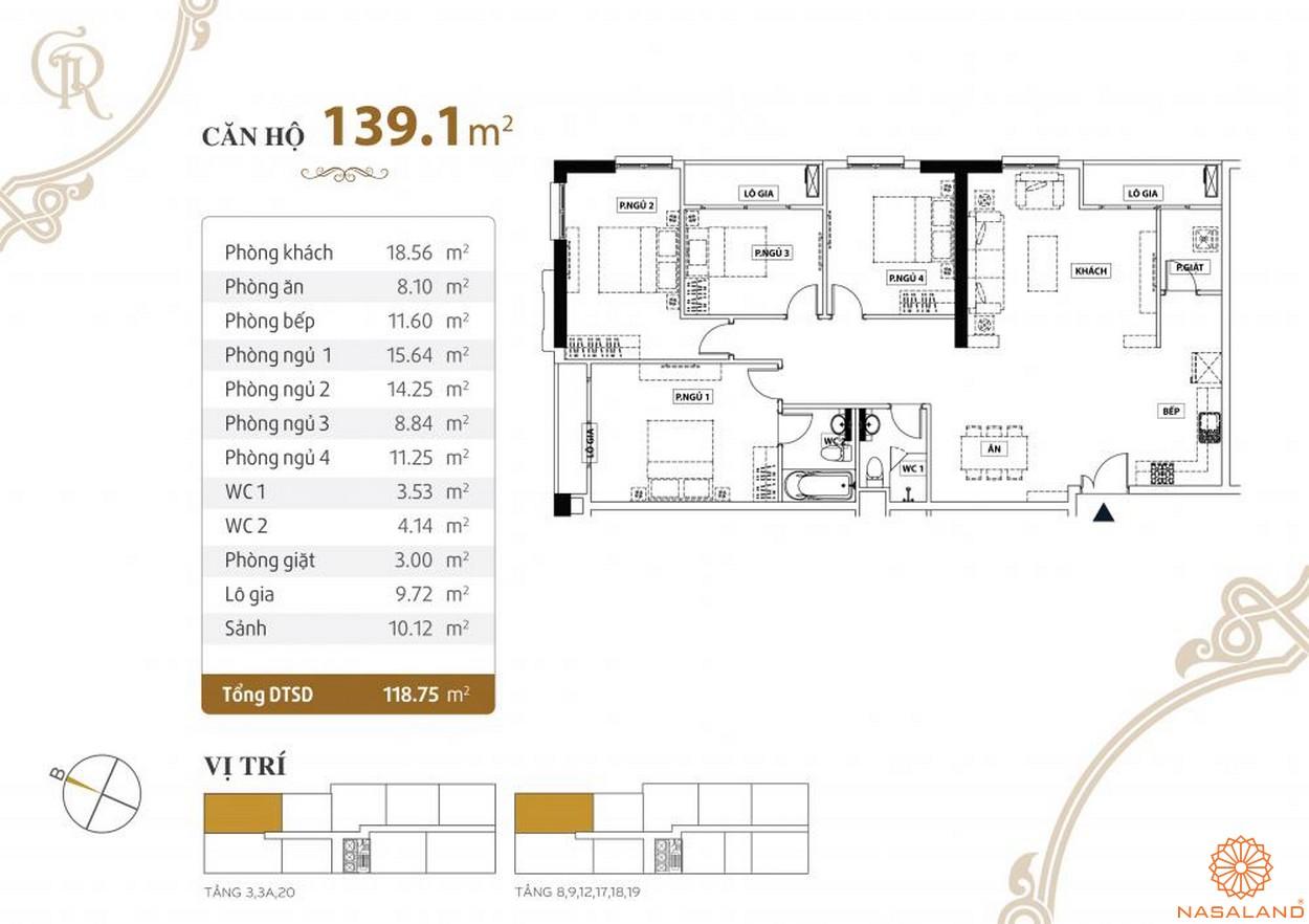 Thiết kế căn hộ Grand Riverside quận 4 diện tích 139.1 m2