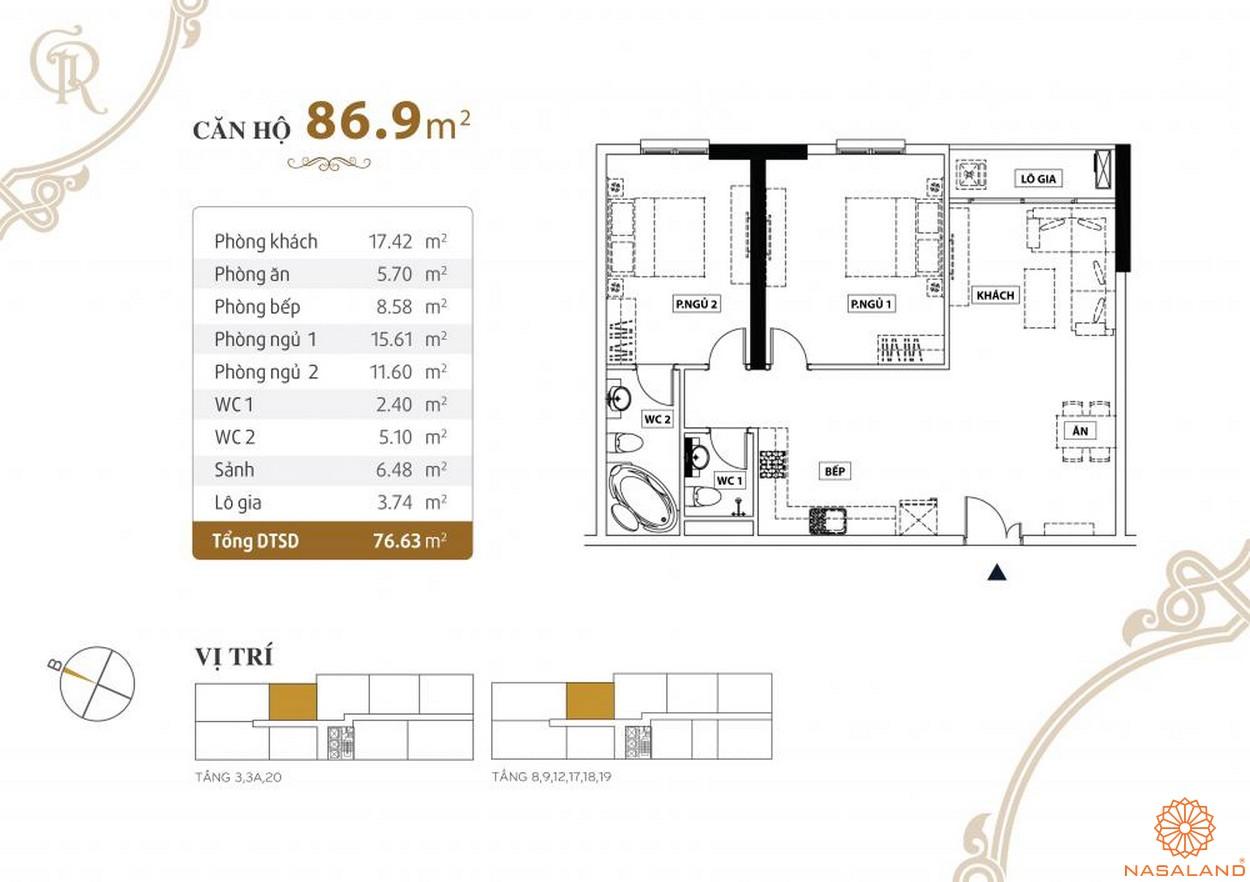 Thiết kế căn hộ Grand Riverside quận 4 diện tích 86.9 m2