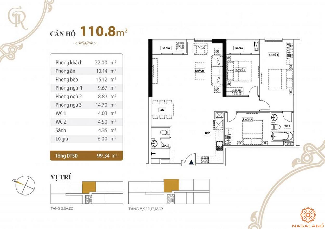 Thiết kế căn hộ Grand Riverside quận 4 diện tích 110.8 m2
