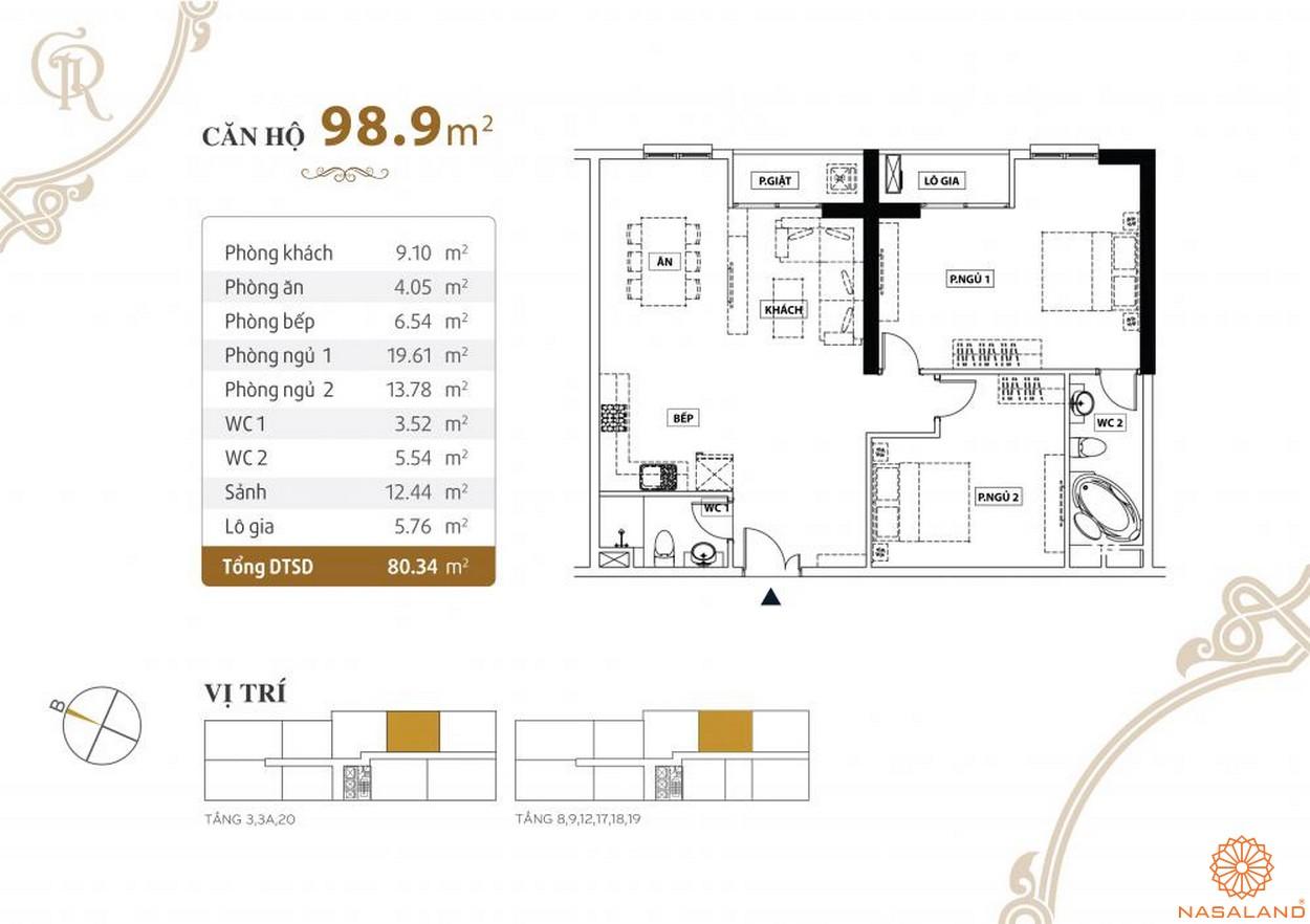 Thiết kế căn hộ Grand Riverside quận 4 diện tích 98.9 m2