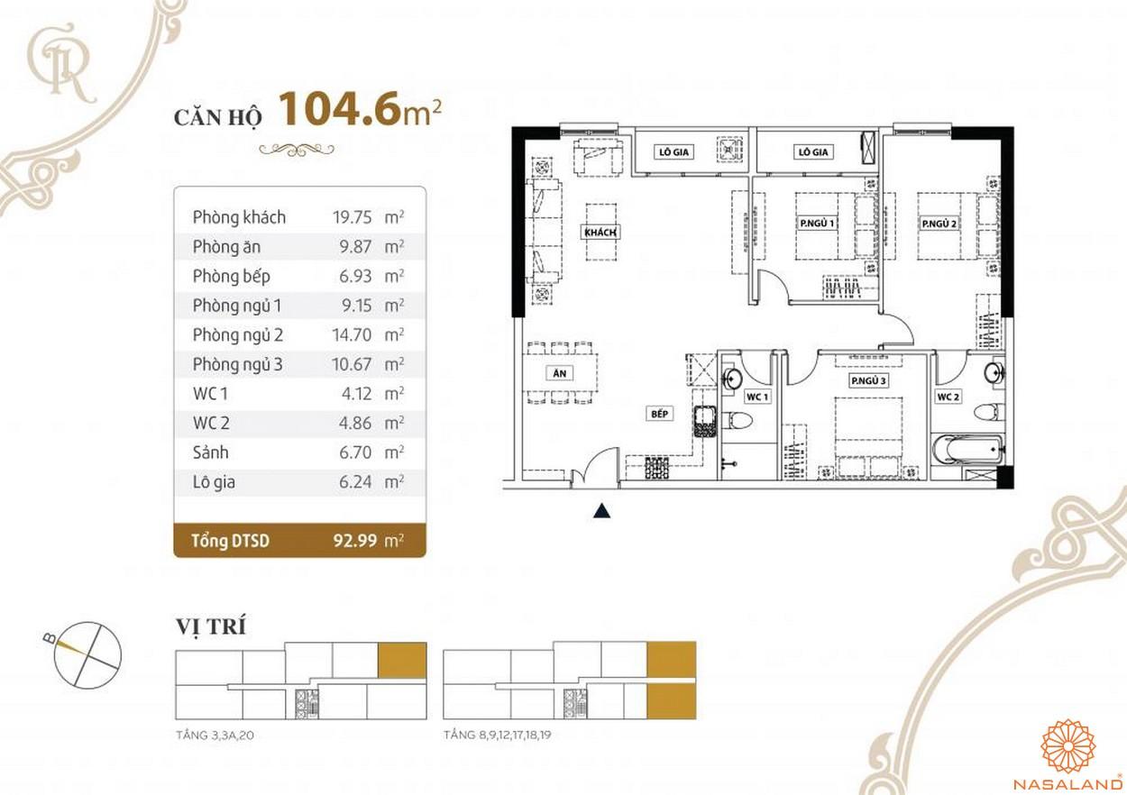 Thiết kế căn hộ Grand Riverside quận 4 diện tích 104.6 m2