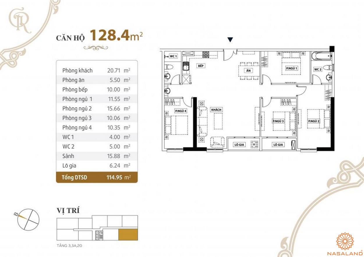 Thiết kế căn hộ Grand Riverside quận 4 diện tích 128.4 m2
