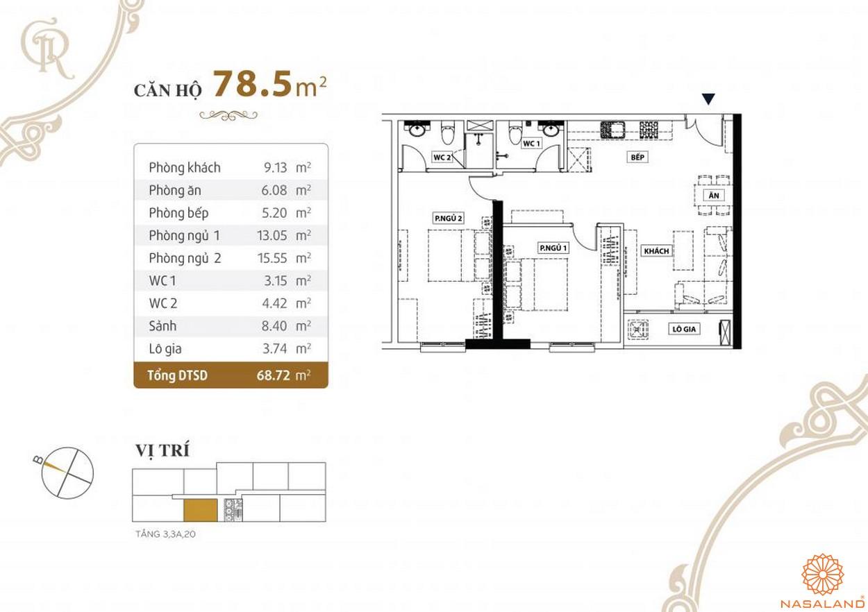 Thiết kế căn hộ Grand Riverside quận 4 diện tích 78.5 m2