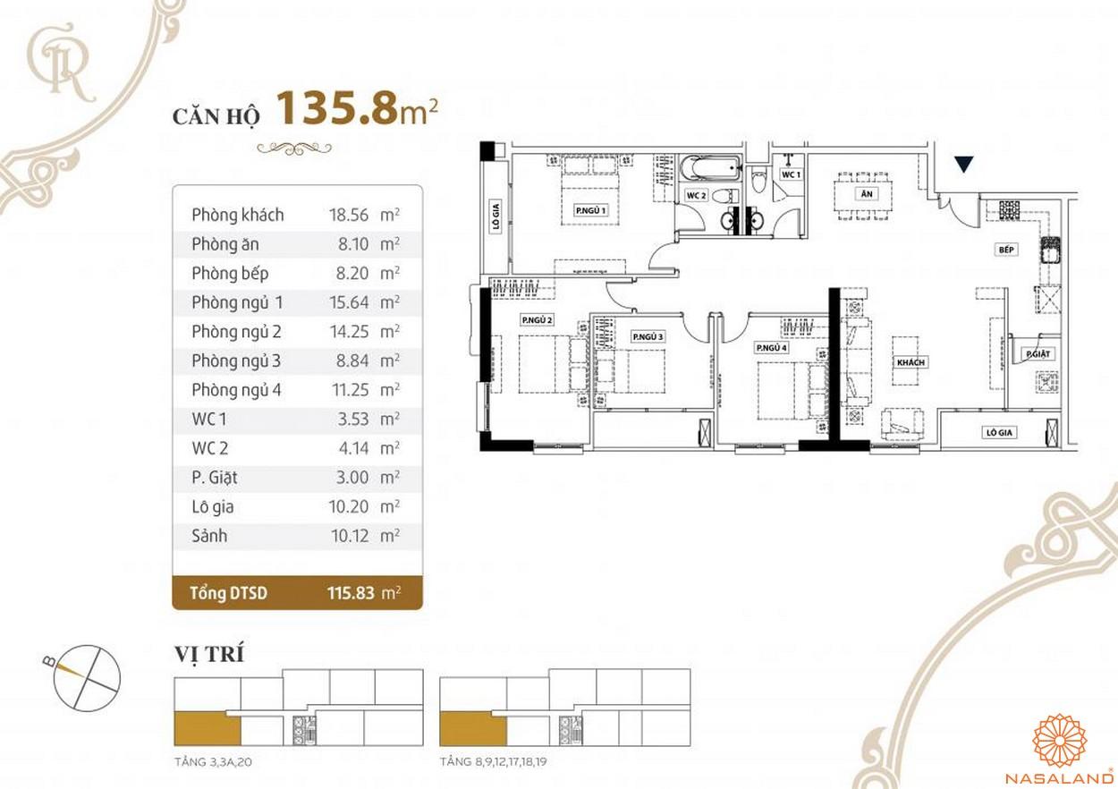 Thiết kế căn hộ Grand Riverside quận 4 diện tích 135.8 m2