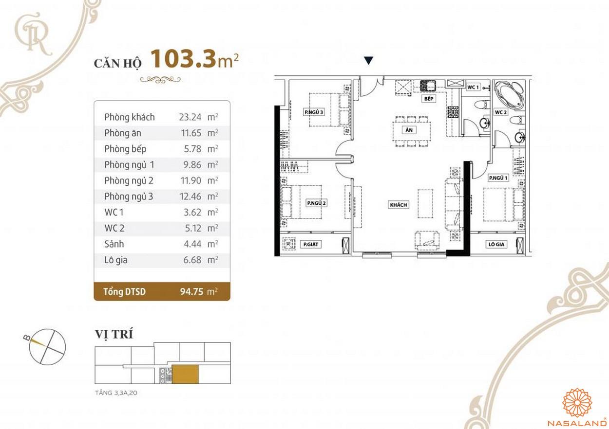 Thiết kế căn hộ Grand Riverside quận 4 diện tích 103.3 m2