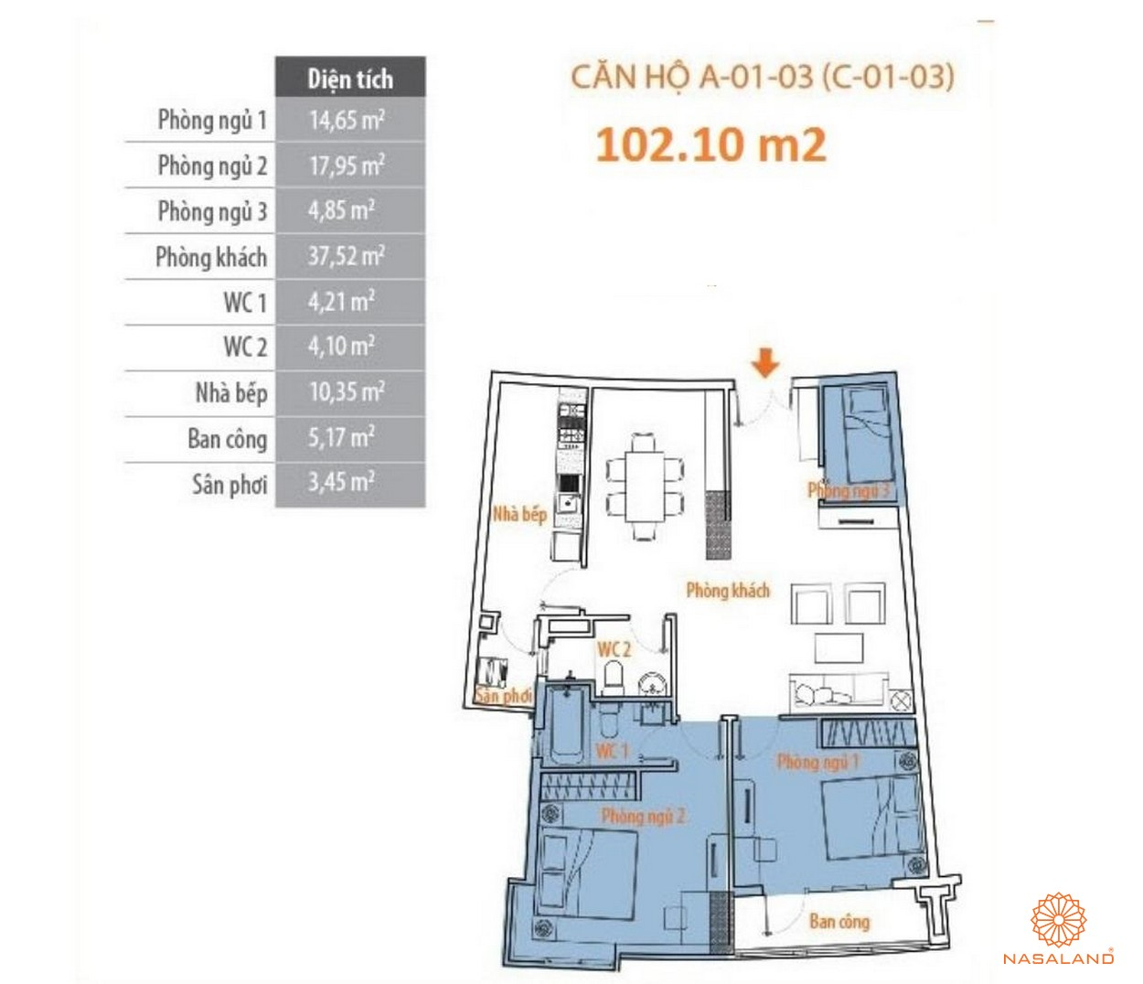 Thiết kế tổng quan căn hộ Him Lam Riverside quận 7 - block A căn số 03