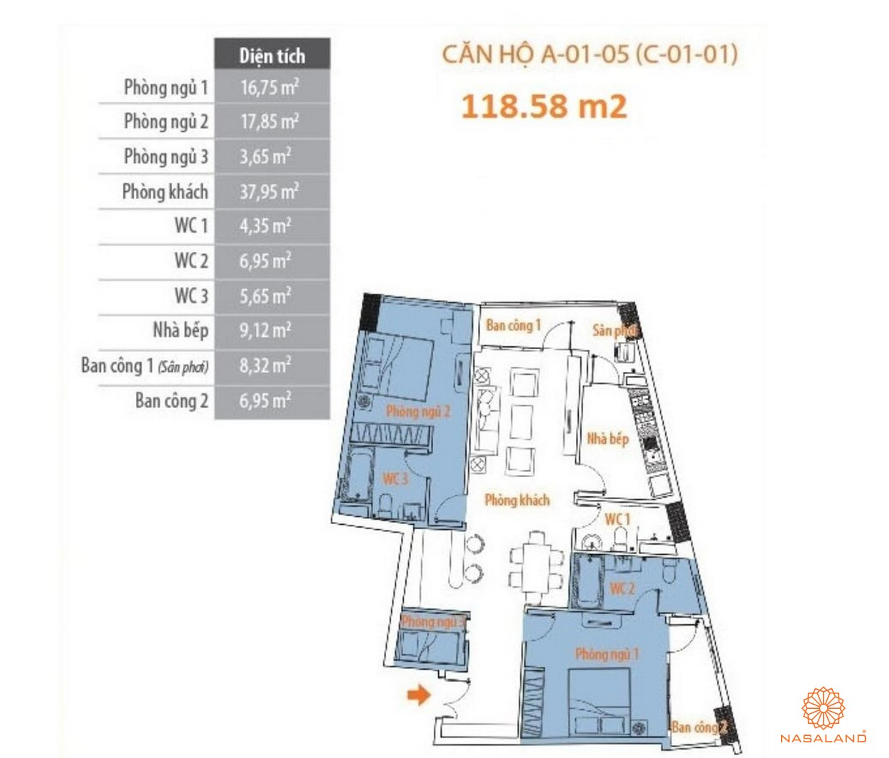 Thiết kế tổng quan căn hộ Him Lam Riverside quận 7 - block A căn số 05
