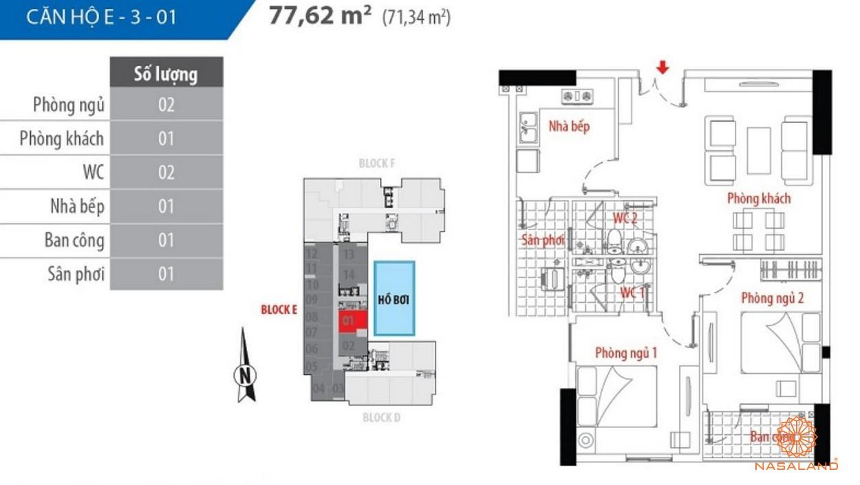 Thiết kế căn hộ block E số 01