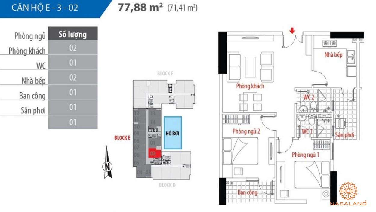 Thiết kế căn hộ block E số 02