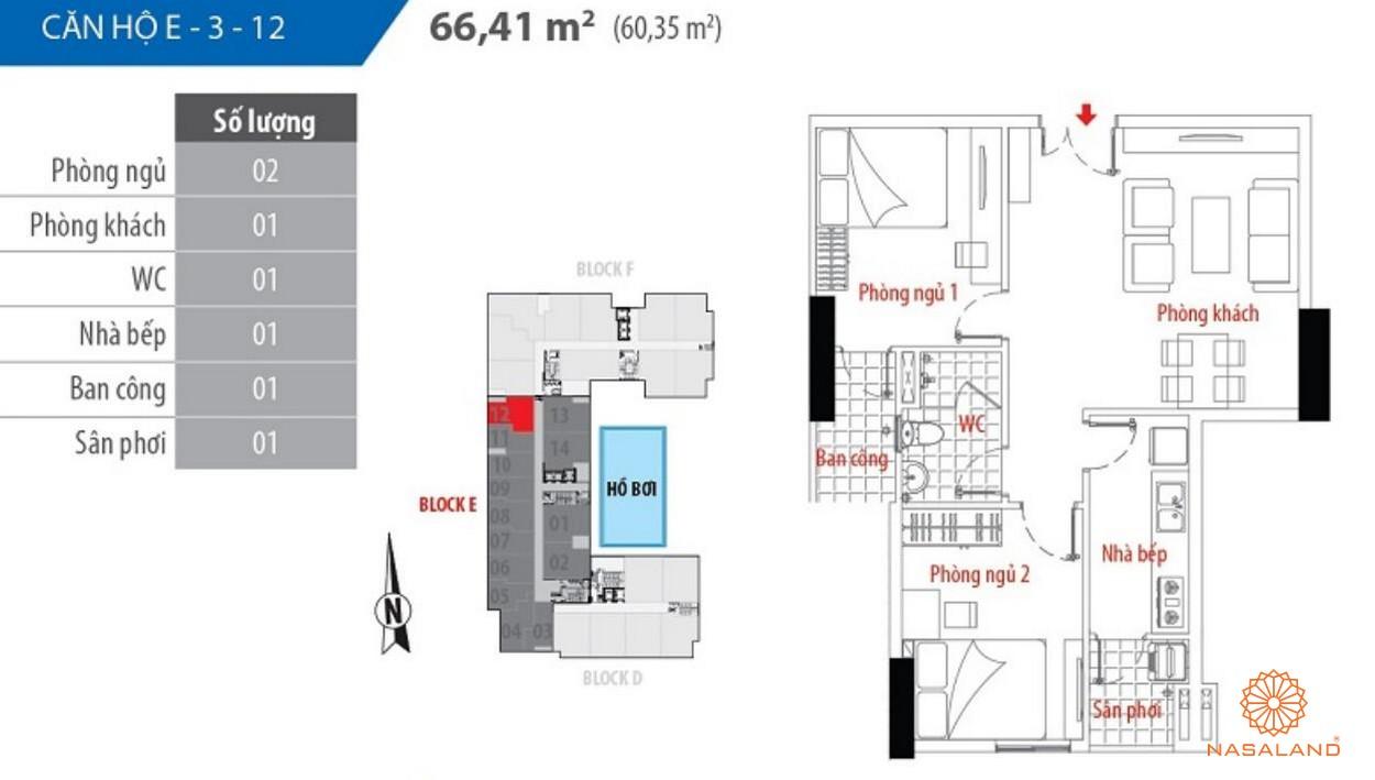 Thiết kế căn hộ block E số 12