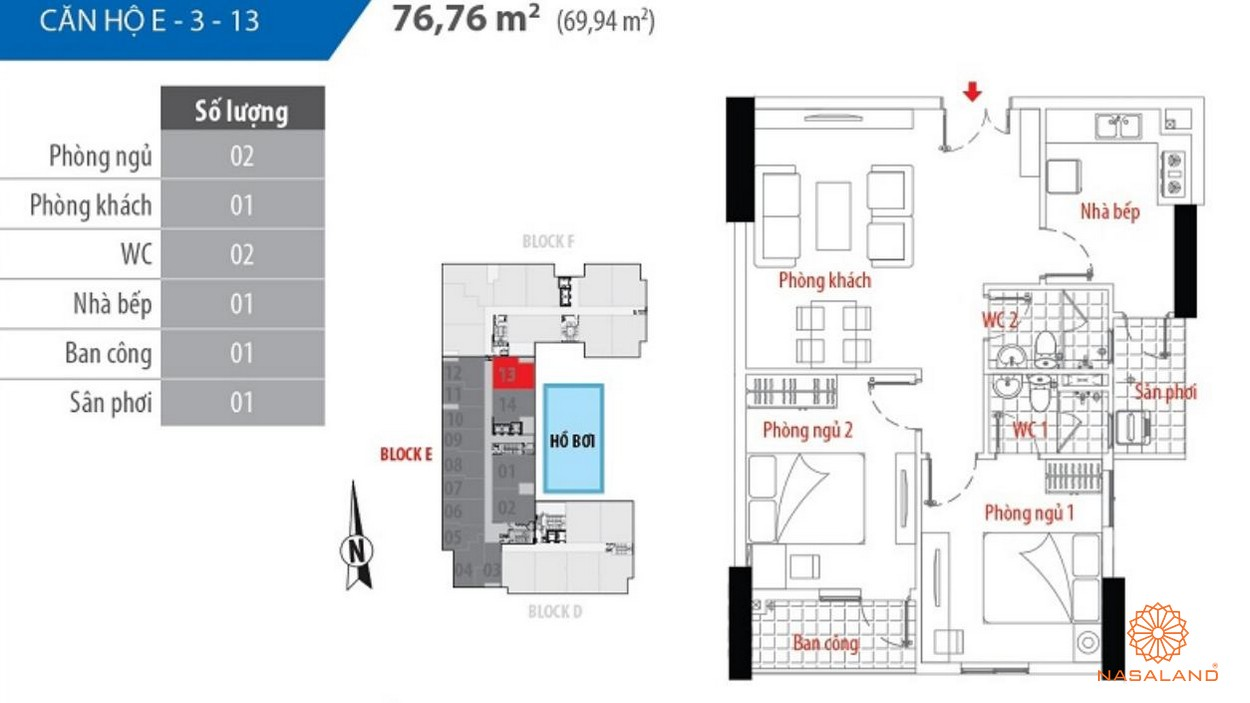 Thiết kế căn hộ block E số 13