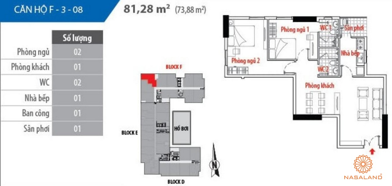Thiết kế tổng quan căn hộ Him Lam Riverside - BLock F căn số 08