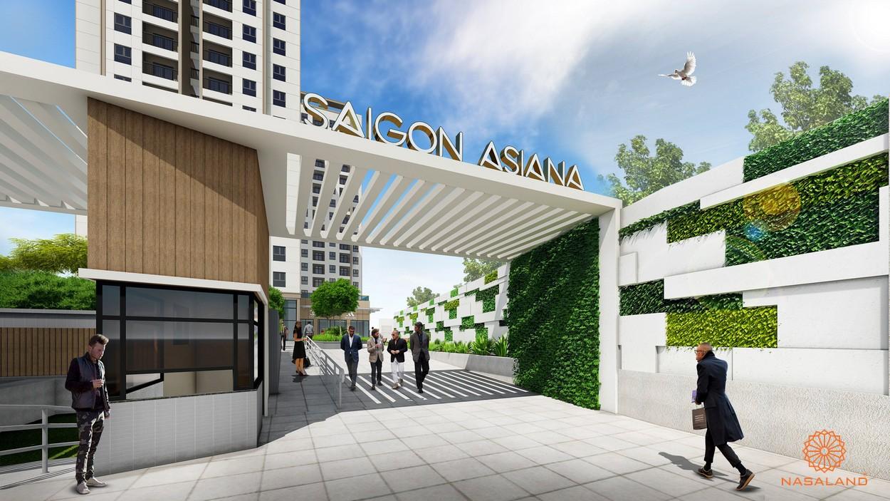 Cổng vào dự án Asiana Phú Lâm có phòng bảo vệ 24/24