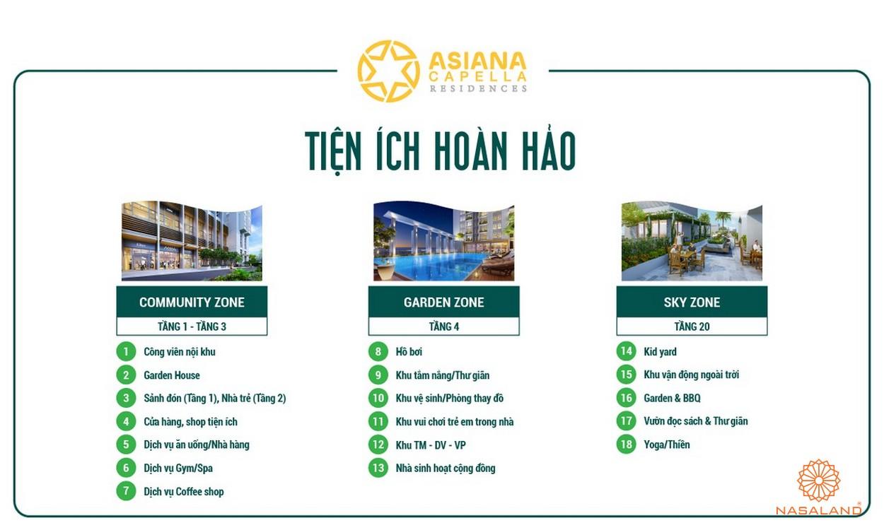 Tiện ích tổng quan nội khu dự án Asiana Capella quận 6