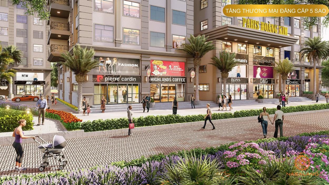 Trung tâm thương mại lớn bên dưới các tầng căn hộ dự án Paris Hoàng Kim Quận 2