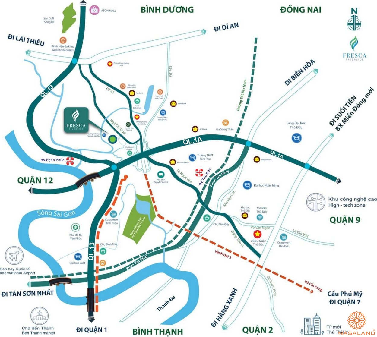 Vị trí địa chỉ dự án căn hộ chung cư Fresca Riverside tọa lạc tại quậnThủ Đức