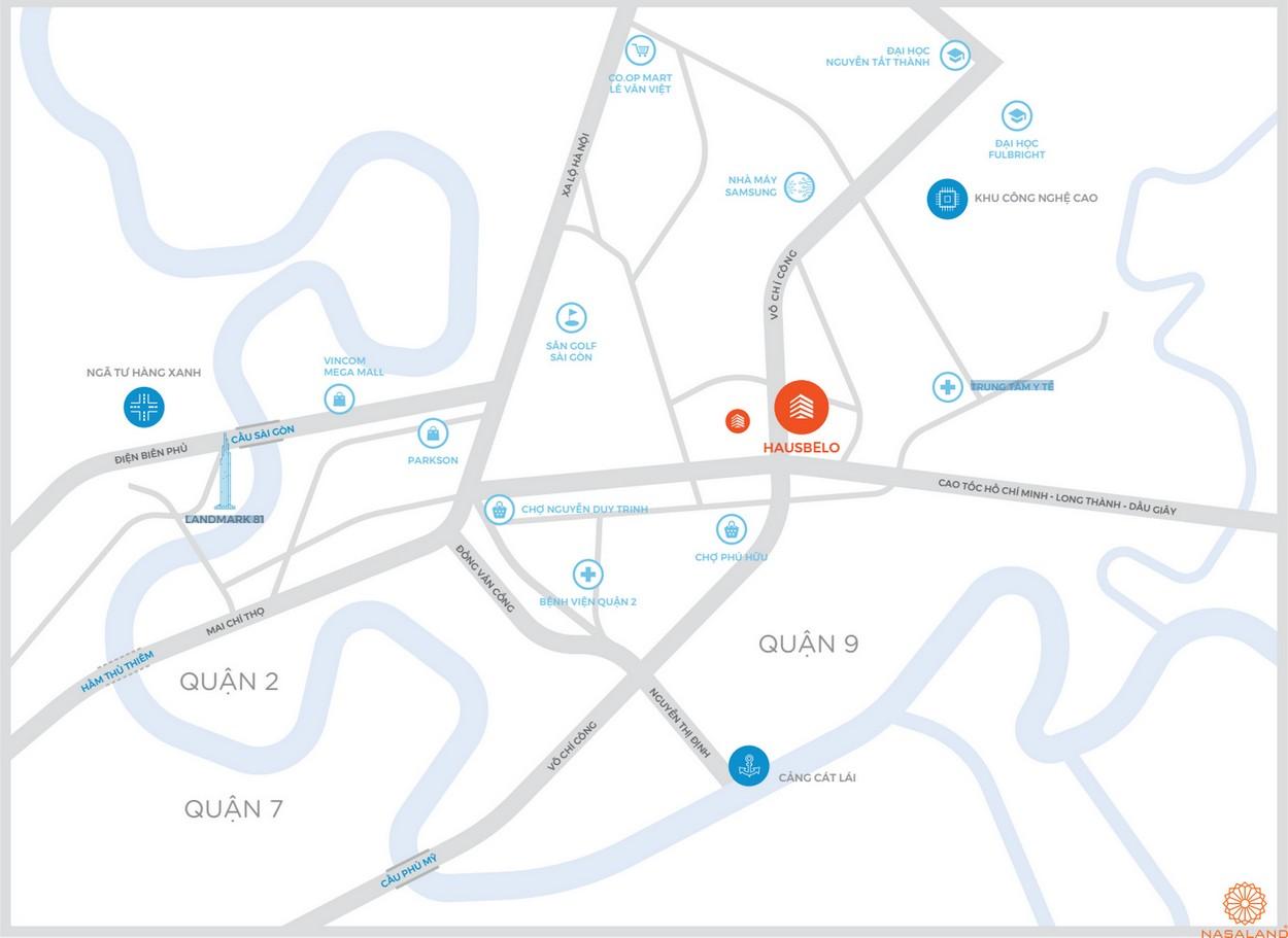 Vị trí dự án nhà phố Hausbelo quận 9 của chủ đầu tư EZ Land