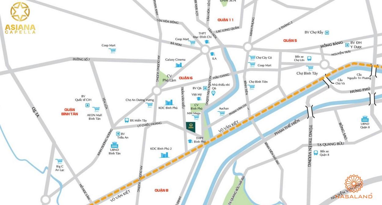 Vị trí dự án căn hộ Aisana Capella quận 6