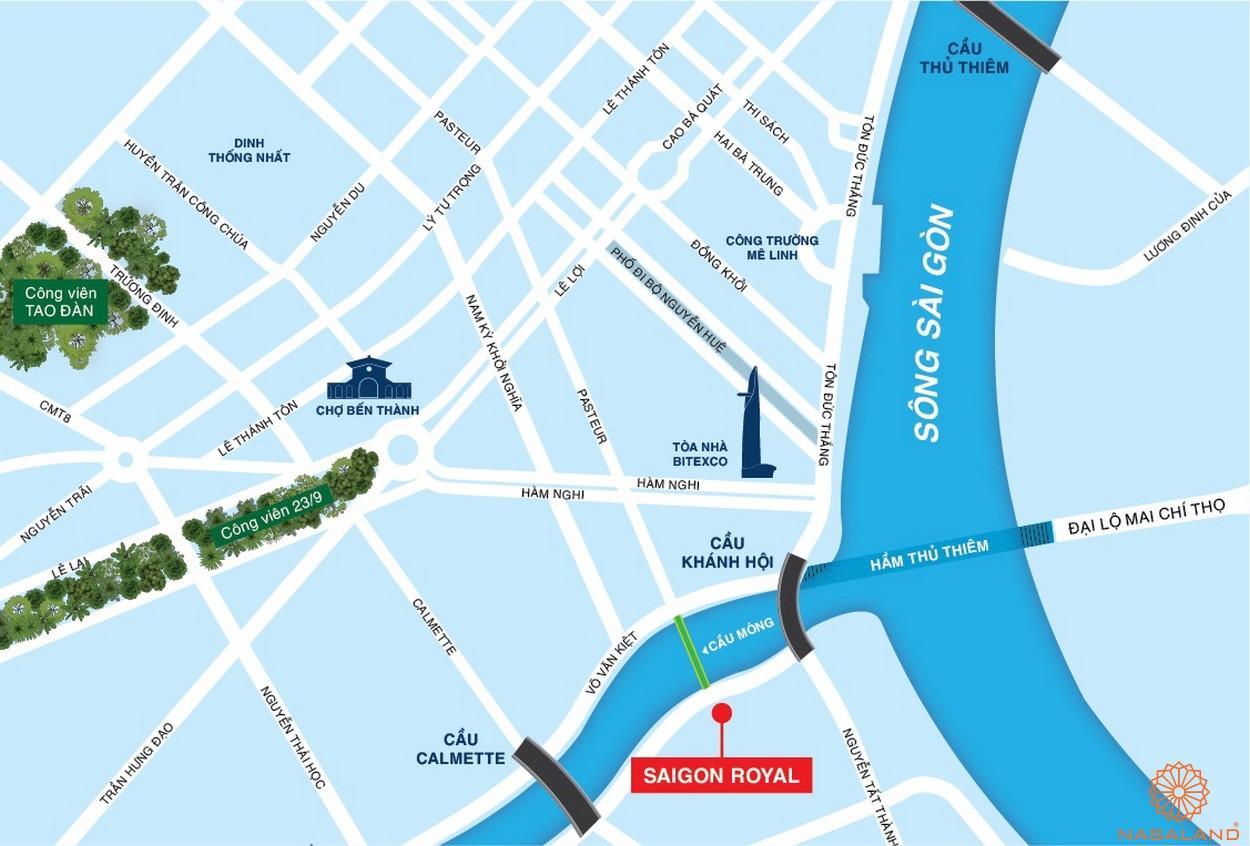 Vị trí dự án căn hộ Saigon Royal quận 4 chủ đầu tư Novaland